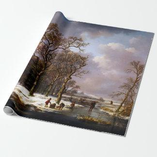 Papel De Presente Paisagem do inverno de Andreas Schelfhout