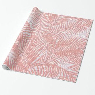 Papel De Presente Palmeira elegante do brilho cor-de-rosa coral
