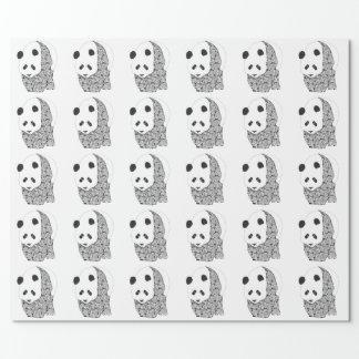 Papel De Presente Panda com rosas do tatuagem