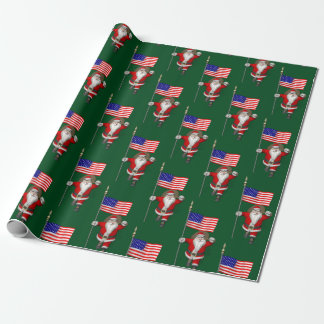 Papel De Presente Papai Noel com a bandeira dos EUA