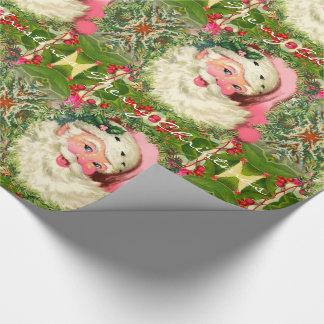 Papel De Presente Papai noel cor-de-rosa do vintage para o Natal
