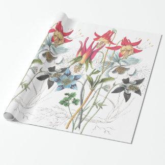 Papel De Presente Papel de envolvimento aquilégia das flores