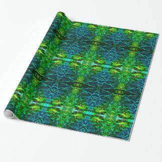 Papel De Presente Papel de envolvimento azul e verde elétrico do