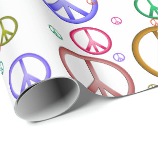 Papel De Presente Papel de envolvimento colorido dos sinais de paz