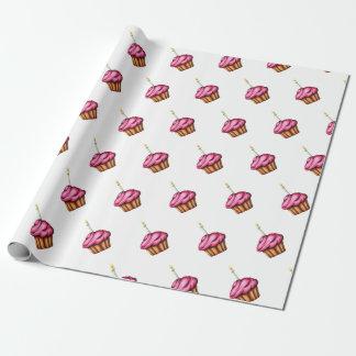 Papel De Presente Papel de envolvimento com os cupcakes cor-de-rosa