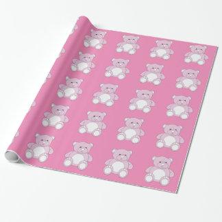 Papel De Presente Papel de envolvimento cor-de-rosa do ursinho
