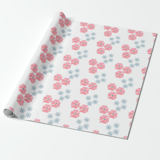 Papel De Presente Papel de envolvimento cor-de-rosa e azul da flor