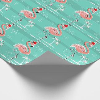 Papel De Presente Papel de envolvimento da listra do flamingo do