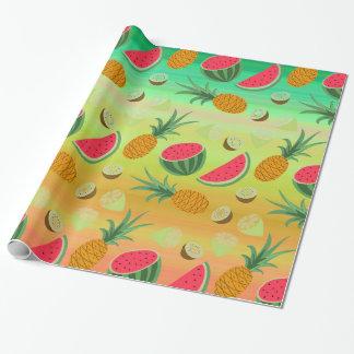 Papel De Presente Papel de envolvimento da melancia do abacaxi da