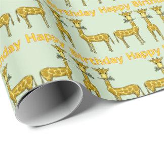 Papel De Presente Papel de envolvimento do aniversário do girafa