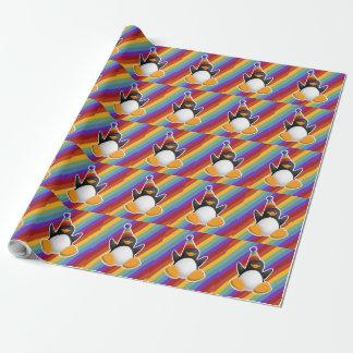 Papel De Presente Papel de envolvimento do arco-íris do pinguim do