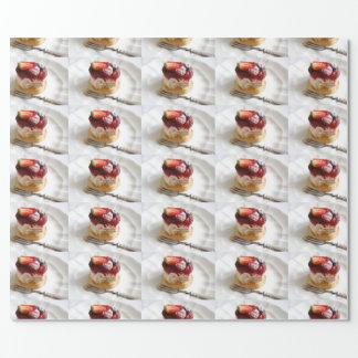 Papel De Presente Papel de envolvimento do bolo da musse da morango