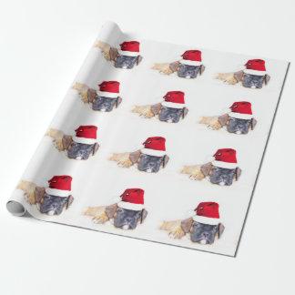 Papel De Presente Papel de envolvimento do cão do pugilista do Natal