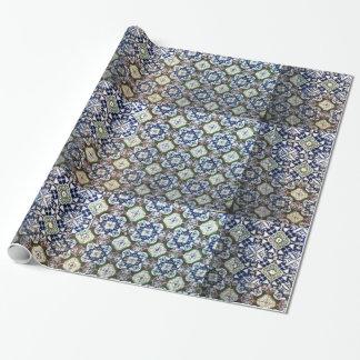 Papel De Presente Papel de envolvimento do design do azulejo de