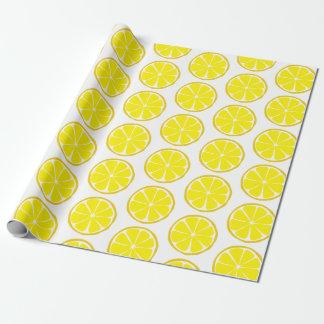 Papel De Presente Papel de envolvimento do limão do citrino do verão