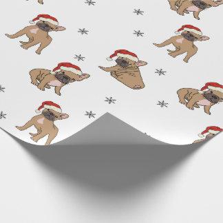 Papel De Presente Papel de envolvimento do Natal do buldogue francês