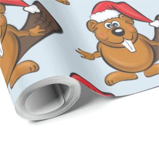 Papel De Presente Papel de envolvimento do Natal do castor