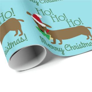 Papel De Presente Papel de envolvimento do Natal do Dachshund