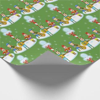 Papel De Presente Papel de envolvimento do Natal dos duendes do
