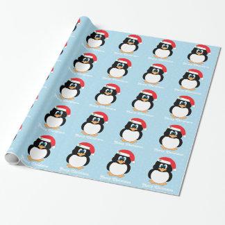 Papel De Presente Papel de envolvimento do pinguim do Feliz Natal