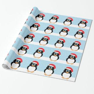 Papel De Presente Papel de envolvimento do pinguim do Natal