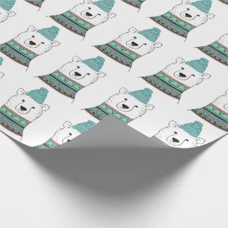 Papel De Presente Papel de envolvimento do urso polar