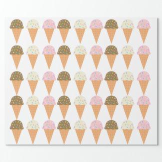 Papel De Presente Papel de envolvimento dos cones do sorvete