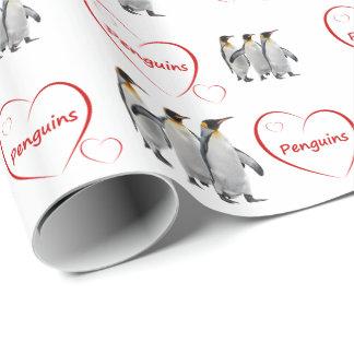 Papel De Presente Papel de envolvimento dos pinguins do amor