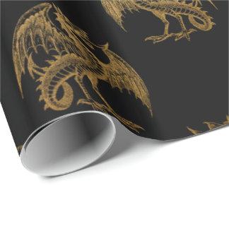 Papel De Presente Papel de envolvimento dourado do partido do dragão