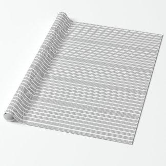 Papel De Presente Papel de envolvimento listrado cinzento e branco