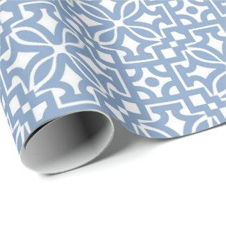 Papel De Presente Papel de envolvimento Matte azul do ornamento
