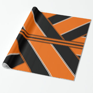 Papel De Presente Papel de envolvimento preto e laranja