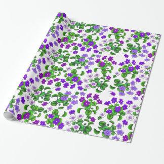 Papel De Presente Papel de envolvimento roxo das flores da violeta