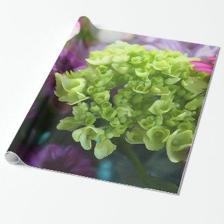Papel De Presente Papel de envolvimento roxo e verde do buquê floral