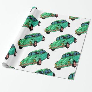 Papel De Presente Papel de envolvimento verde da mandala do carro do