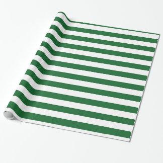Papel De Presente Papel de envolvimento verde e branco das listras