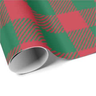 Papel De Presente Papel de envolvimento vermelho e verde da xadrez