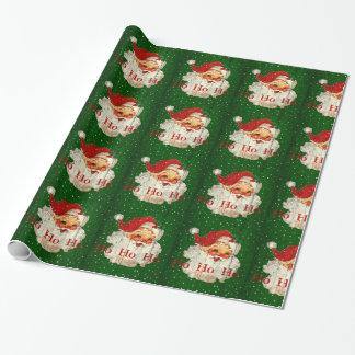 Papel De Presente Papel de envolvimento vermelho verde de Papai Noel