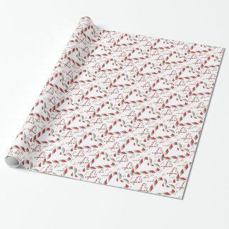 Papel De Presente Papel vermelho & verde do Natal de doces do bastão