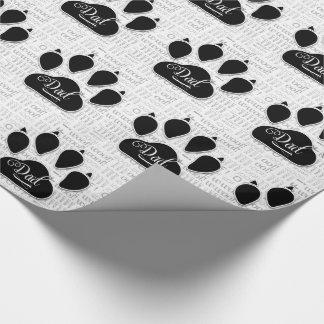 Papel De Presente para a pata do cão preto do PAI no fundo do Woof