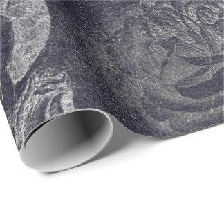 Papel De Presente Parede preta cinzenta do cimento floral metálico