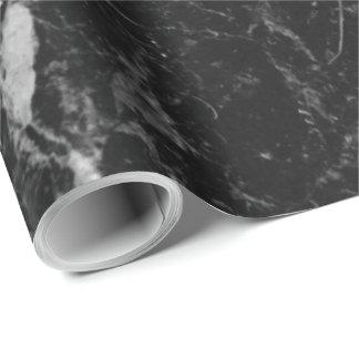 Papel De Presente Pedra de mármore preta moderna