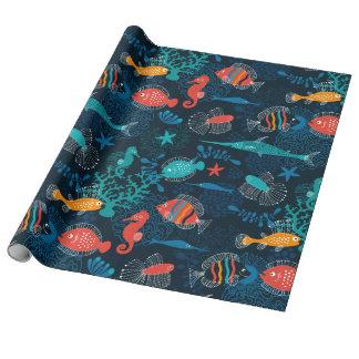Papel De Presente Peixes coloridos no oceano