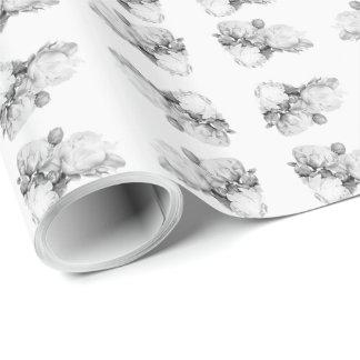 Papel De Presente Peônia grande - preto e branco
