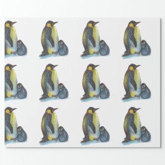 Papel De Presente Pinguins que tiram o papel de envolvimento Matte