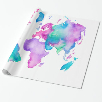 Papel De Presente Pintura brilhante da aguarela do globo moderno do