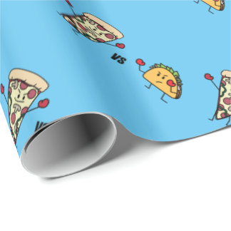 Papel De Presente Pizza de Pepperoni CONTRA o Taco: Mexicano contra