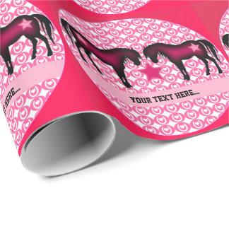 Papel De Presente Pônei cor-de-rosa personalizado