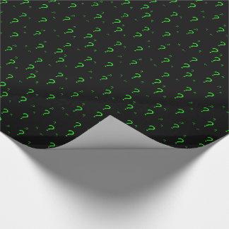 Papel De Presente Ponto de interrogação verde de néon