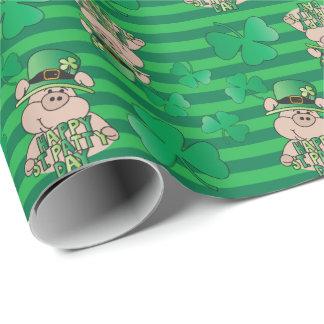 Papel De Presente Porco do irlandês do dia de St Patrick feliz